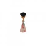 Escova para Pia Boneca de Vestido Flores Rosa - 24x8 cm