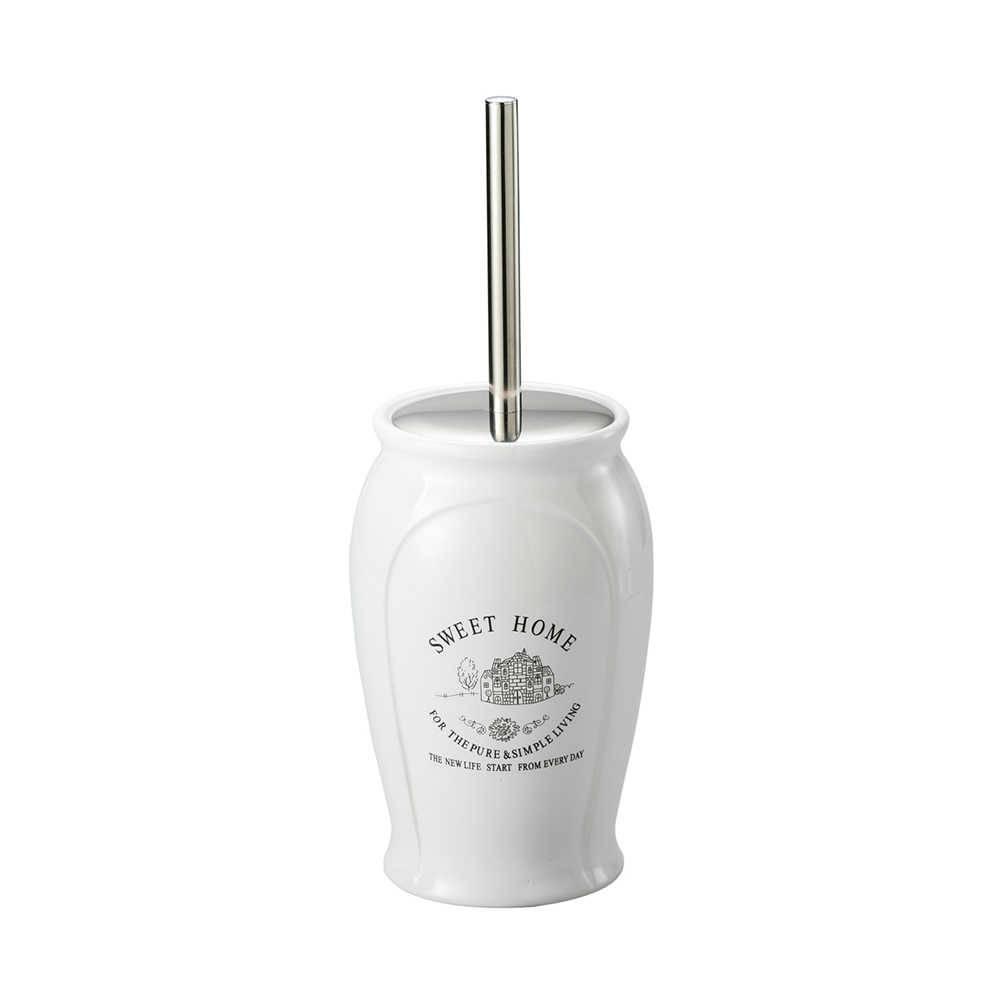 Escova Sanitária com Suporte Sweet Home de Porcelana - Lyor Classic - 36x11 cm