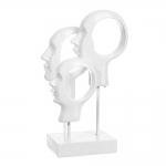 Escultura 3 Faces Modern Branco em MDF - 29x18 cm