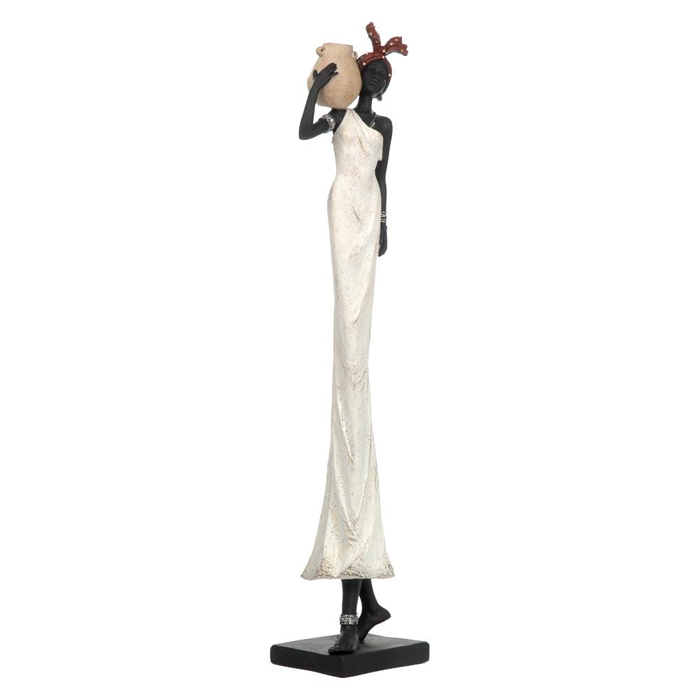 Escultura Africana de Vestido Branco em Resina - 79x10 cm