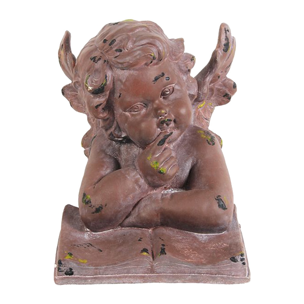 Escultura Anjo Gabriel Marrom Grande em Resina - 35x27 cm