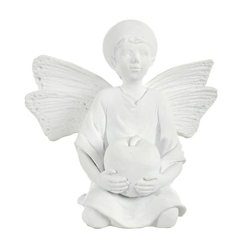 Escultura Anjo com Maça Branco - 11x7 cm