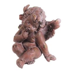 Escultura Anjo Michael Marrom Grande em Resina - 53x40 cm