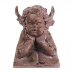 Escultura Anjo Miguel Marrom Grande em Resina - 35x27 cm