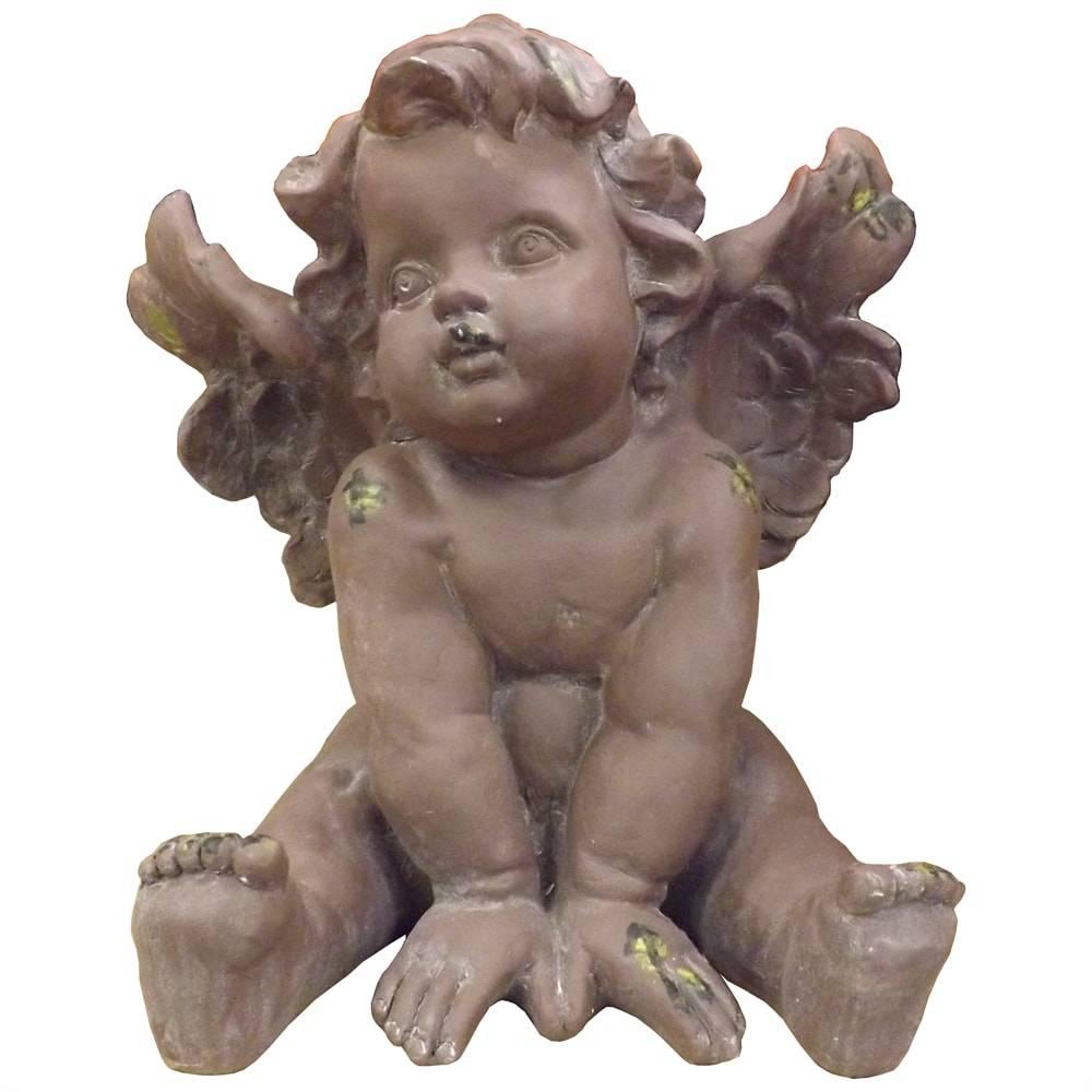 Escultura Anjo Rafael Marrom Grande em Resina - 49x43 cm
