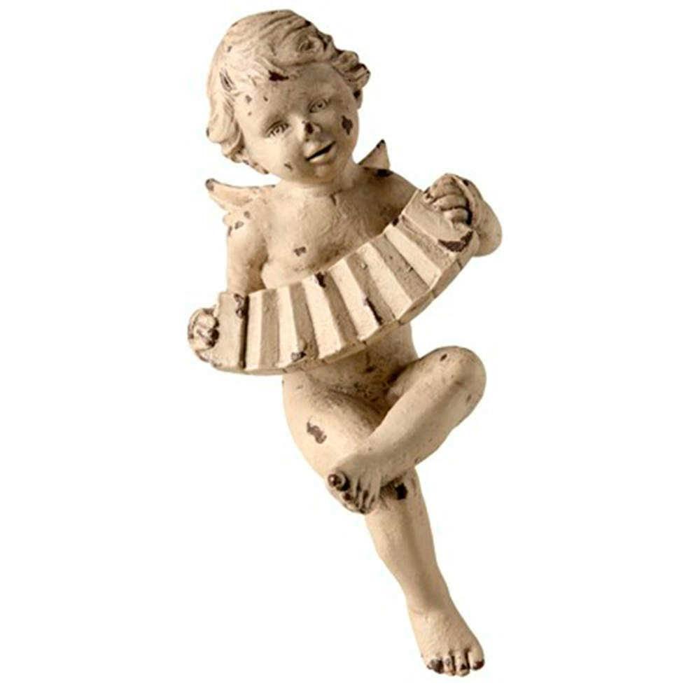 Escultura Anjo Sentado Tocando Sanfona Branco em Resina - 24x14 cm