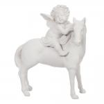 Escultura Anjo Sobre o Cavalo Branco em Porcelana - 18x15 cm