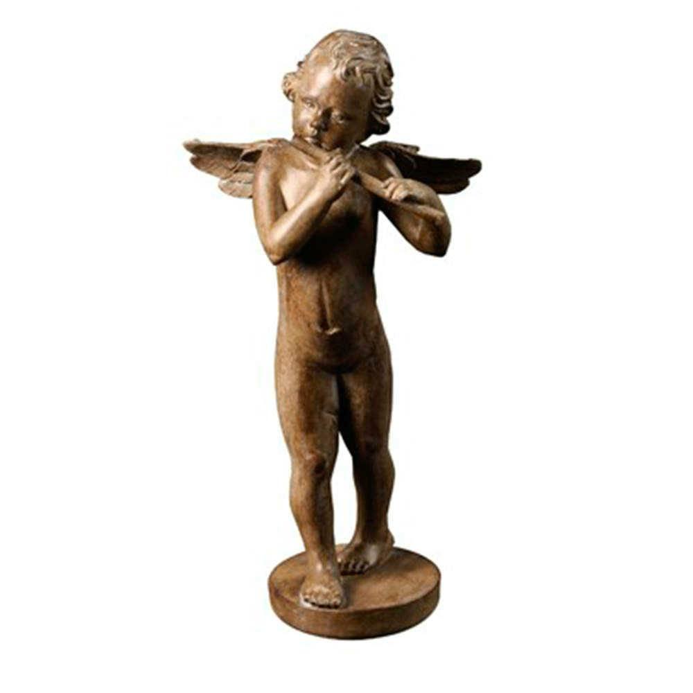 Escultura Anjo Tocando Flauta Marrom em Resina - 39x21 cm