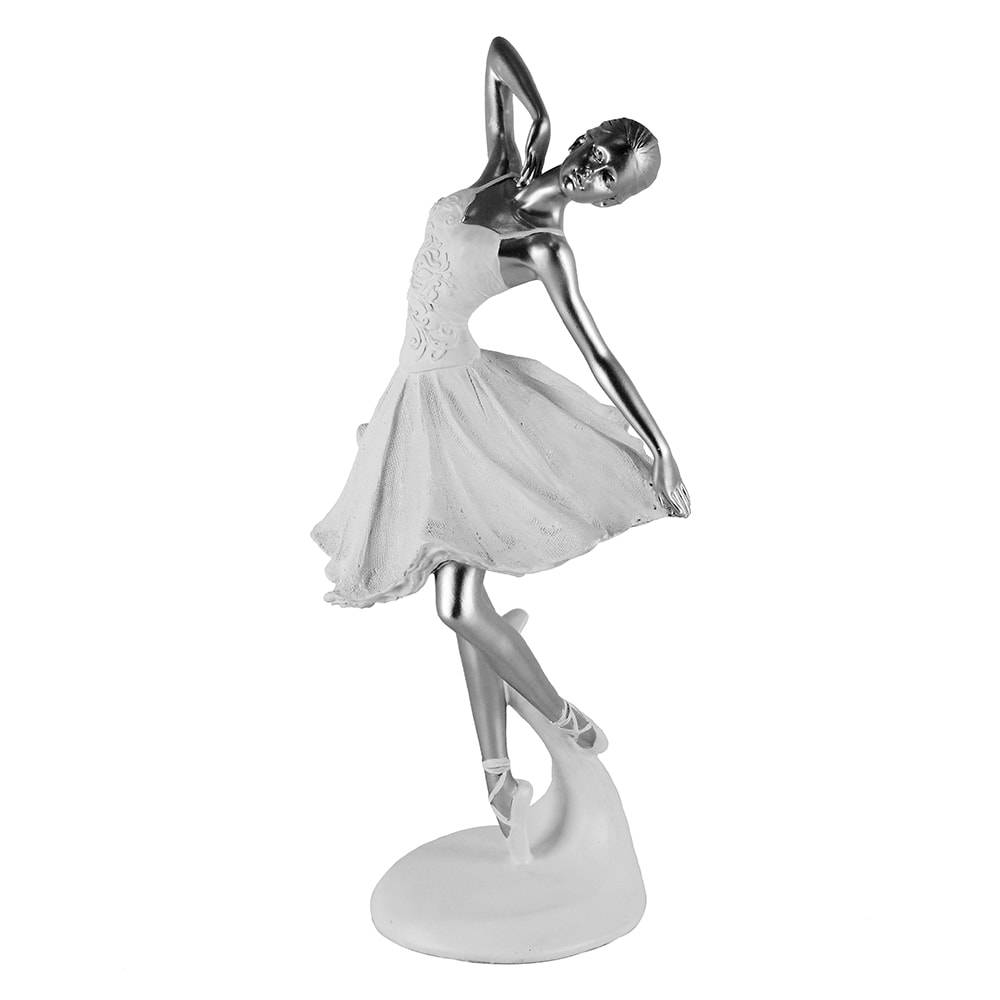 Escultura Bailarina Branco/Prata Grande em Polipropileno - 38x15 cm