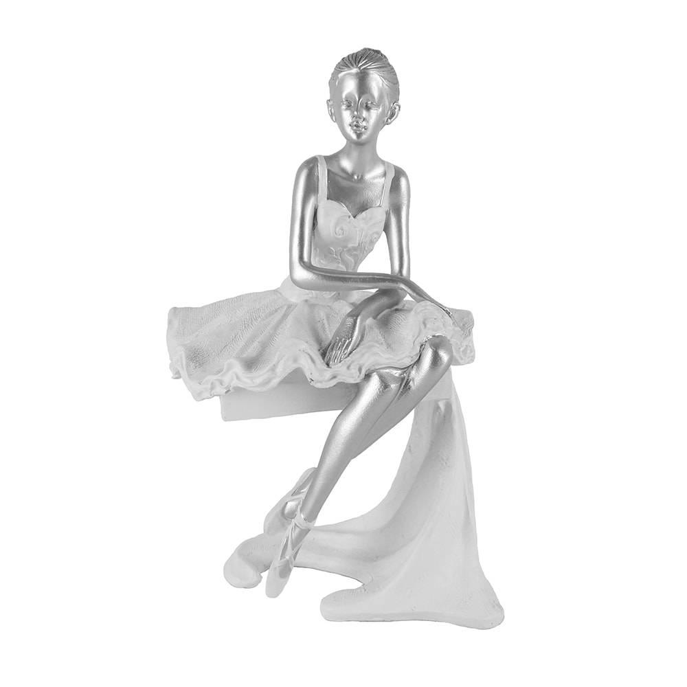 Escultura Bailarina Branco/Prata Média em Polipropileno - 23x12 cm