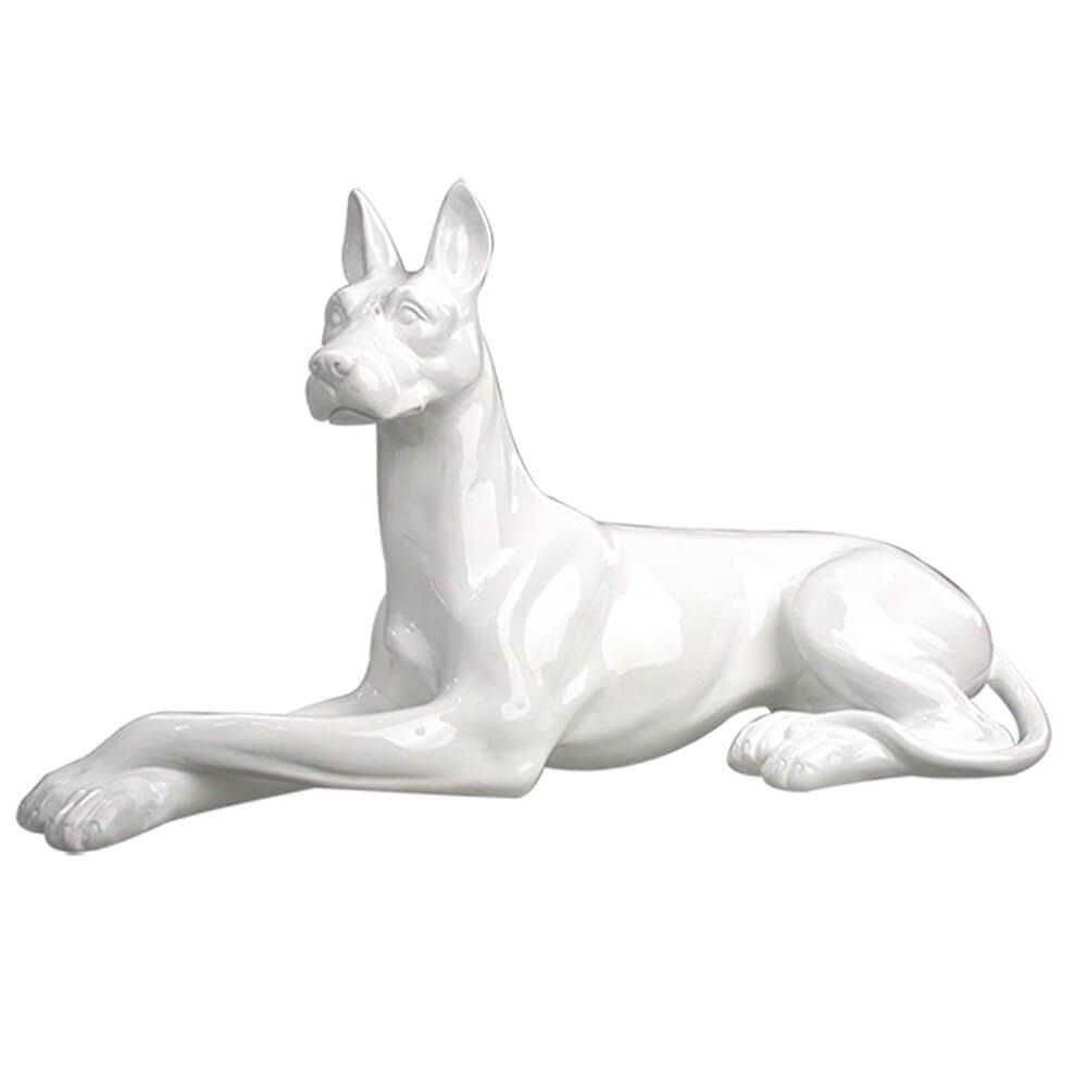 Escultura Big Dog Crossed Legs Branco Brilhante Pequeno em Resina - Urban - 39,5x22,5 cm