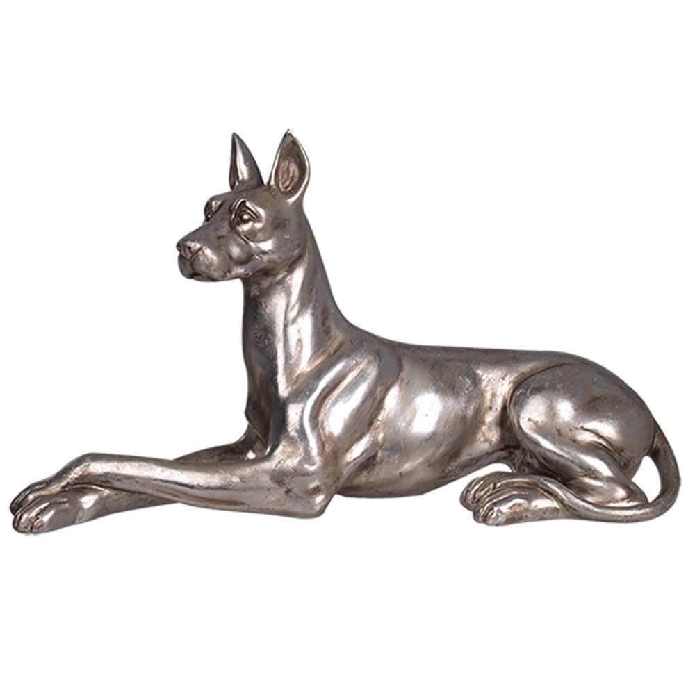 Escultura Big Dog Crossed Legs Prata Pequeno em Resina - Urban - 40x23 cm