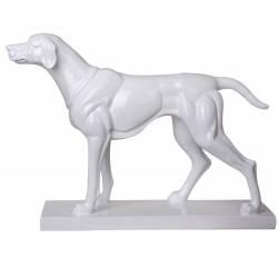 Escultura Big Dog Standed Branco Brilhante em Resina - Urban