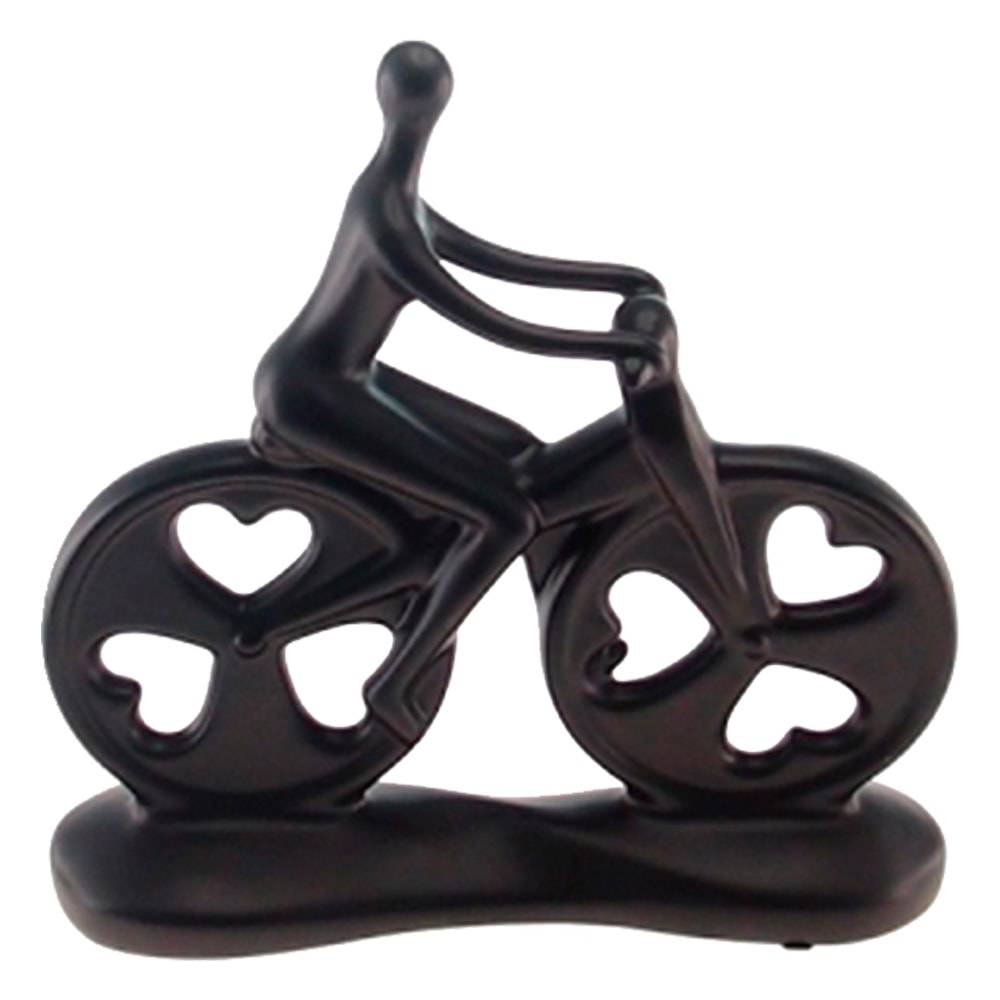 Escultura Bike Preta em Cerâmica - 26x25 cm