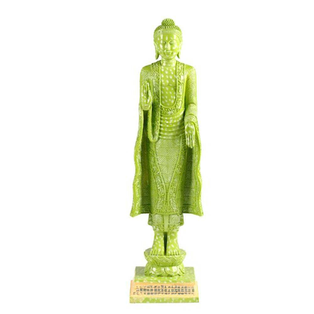 Escultura Buddah de Pé Verde em Resina - 53x16 cm