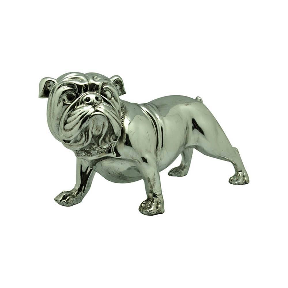 Escultura Bulldog Alert Pequeno Prata em Resina - Urban - 40x19 cm