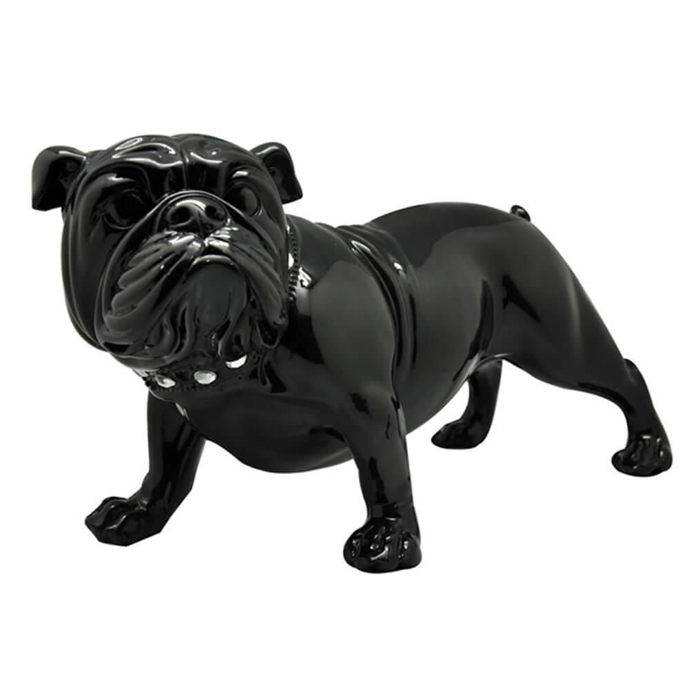 Escultura Bulldog Alert Pequeno Preto em Resina - Urban - 40x22 cm