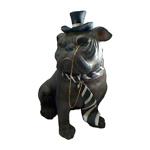 Escultura Bulldog Gravata Pequeno Preto em Resina