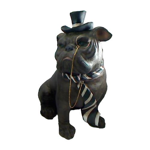 Escultura Bulldog Gravata Pequeno Preto em Resina - 18x8 cm