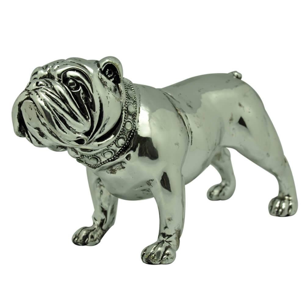 Escultura Bulldog Nervous Prata em Resina - Urban - 30x16,5 cm