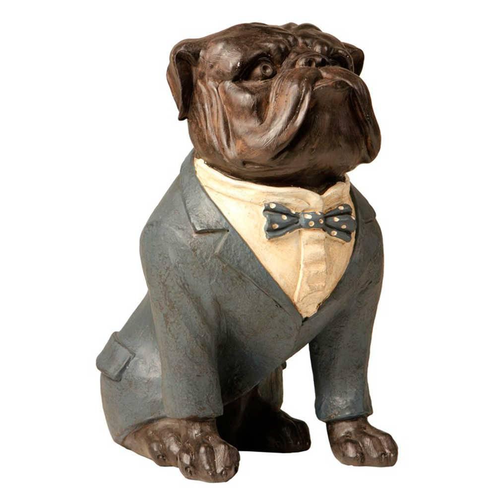 Escultura de Bulldog Sentado de Paletó Cinza em Resina - 31x26 cm