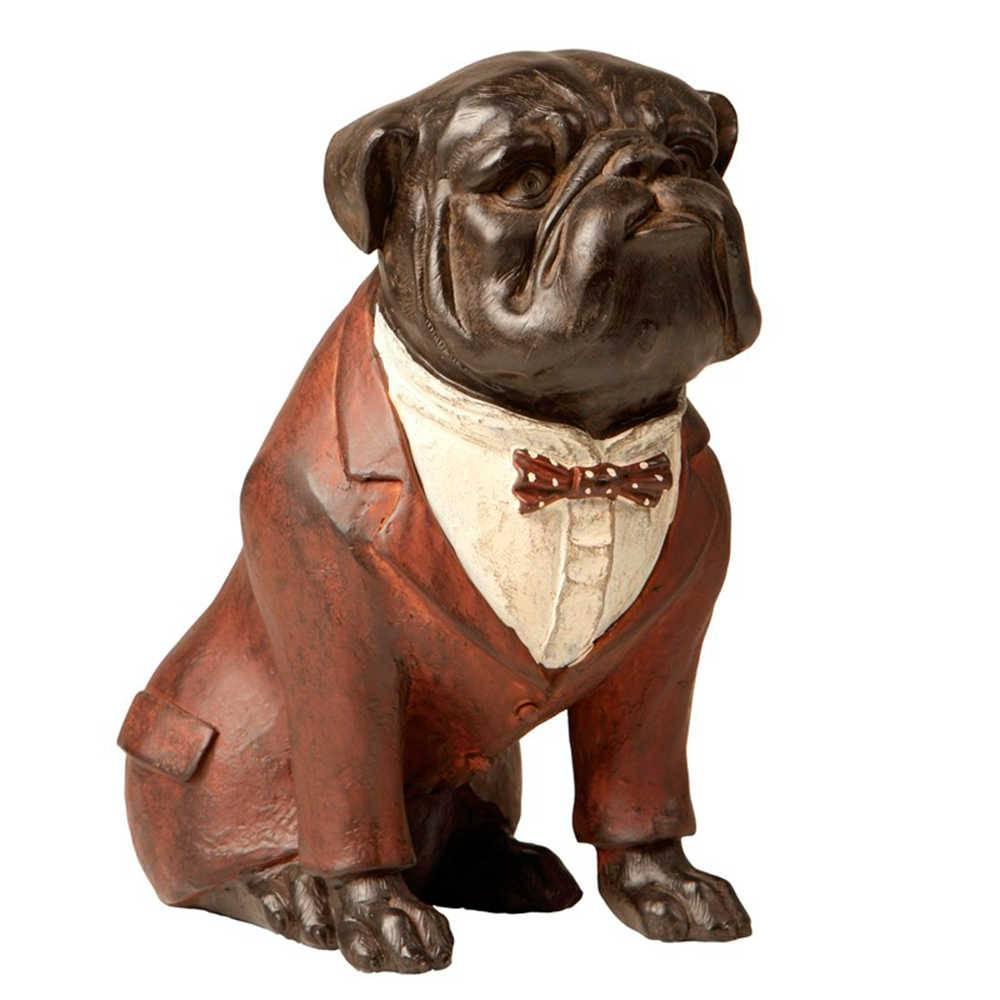 Escultura de Bulldog Sentado Paletó Marrom em resina - 22x16 cm