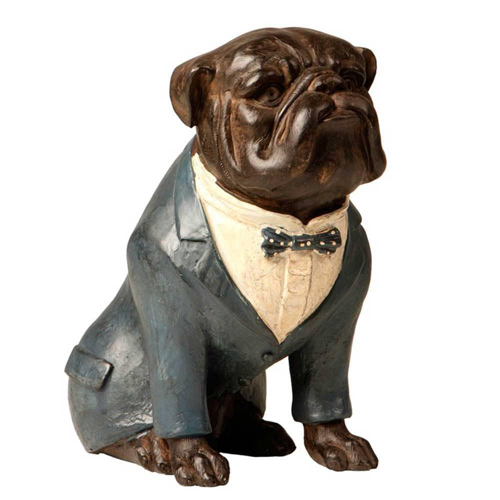Escultura de Bulldog Sentado de Paletó Cinza em Resina - 22x16 cm