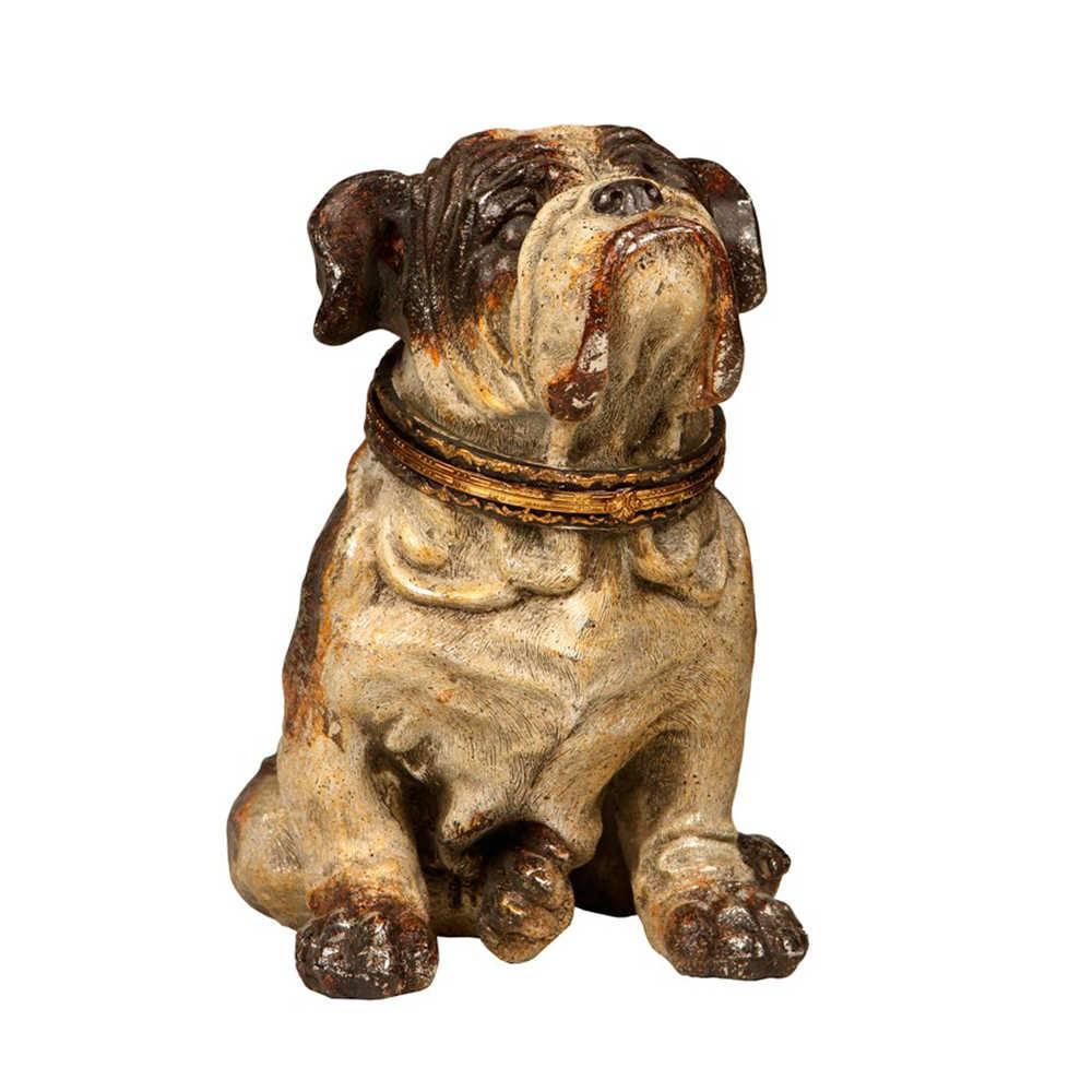 Escultura Bulldog Sentado em Resina - 23x19 cm