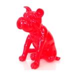 Escultura Bulldog Vermelho em Resina - 37x36 cm