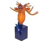 Escultura Busto de Alce em Resina Blue/Orange Fullway - 64x53 cm
