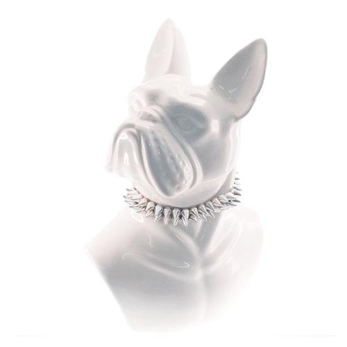 Escultura Busto Dog Branco em Cerâmica - 35x24 cm