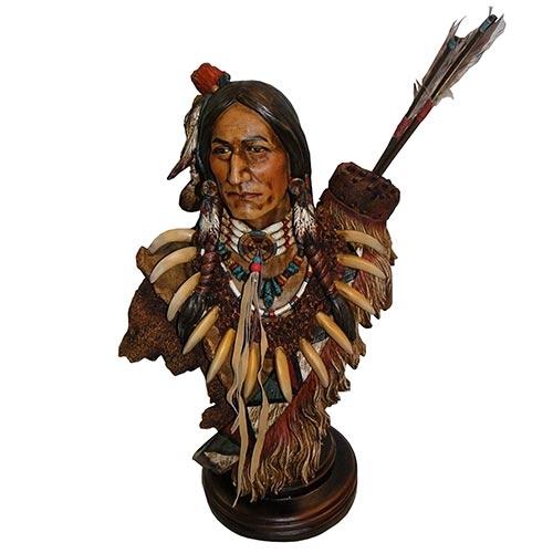 Escultura Busto Índio c/ Flechas em Resina Oldway - 52x33cm