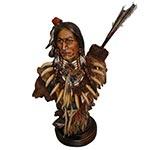 Escultura Busto Índio c/ Flechas em Resina Oldway