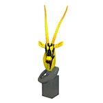 Escultura de Cabeça de Antílope em Resina Yellow/Black