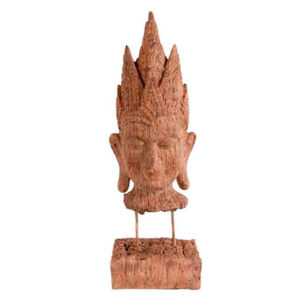Escultura Cabeça de Buddha em Madeira -  39,3x12,7 cm
