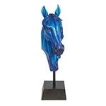 Escultura Cabeça de Cavalo Blue Fullway - 72x34x19 cm