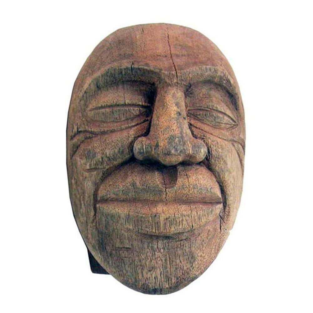 Escultura Cabeça Sorrindo I em Madeira - 24x22,5 cm