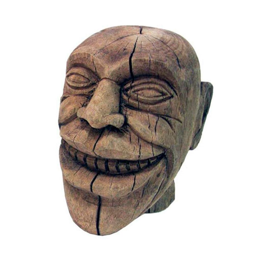 Escultura Cabeça Sorrindo II em Madeira - 24x21 cm