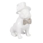 Escultura Cachorro Branco com Chapéu Médio em Cerâmica