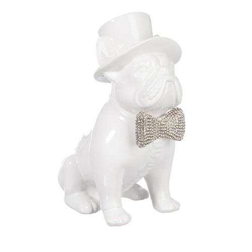 Escultura Cachorro Branco com Chapéu Médio em Cerâmica - 23x17,8 cm
