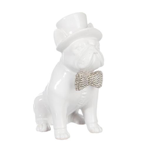 Escultura Cachorro Branco com Chapéu Pequeno em Cerâmica - 18x14,2 cm