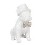 Escultura Cachorro Branco com Chapéu Pequeno em Cerâmica