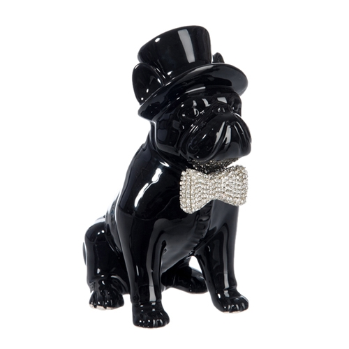 Escultura Cachorro com Chapéu Preto Pequeno em Cerâmica - 18x14,2 cm
