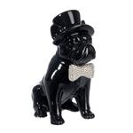 Escultura Cachorro com Chapéu Preto Pequeno em Cerâmica