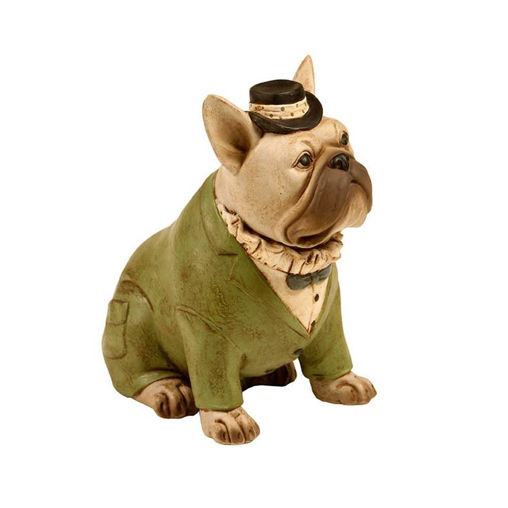 Escultura de Cachorro Sentado com Chapéu em Resina - 18x18 cm