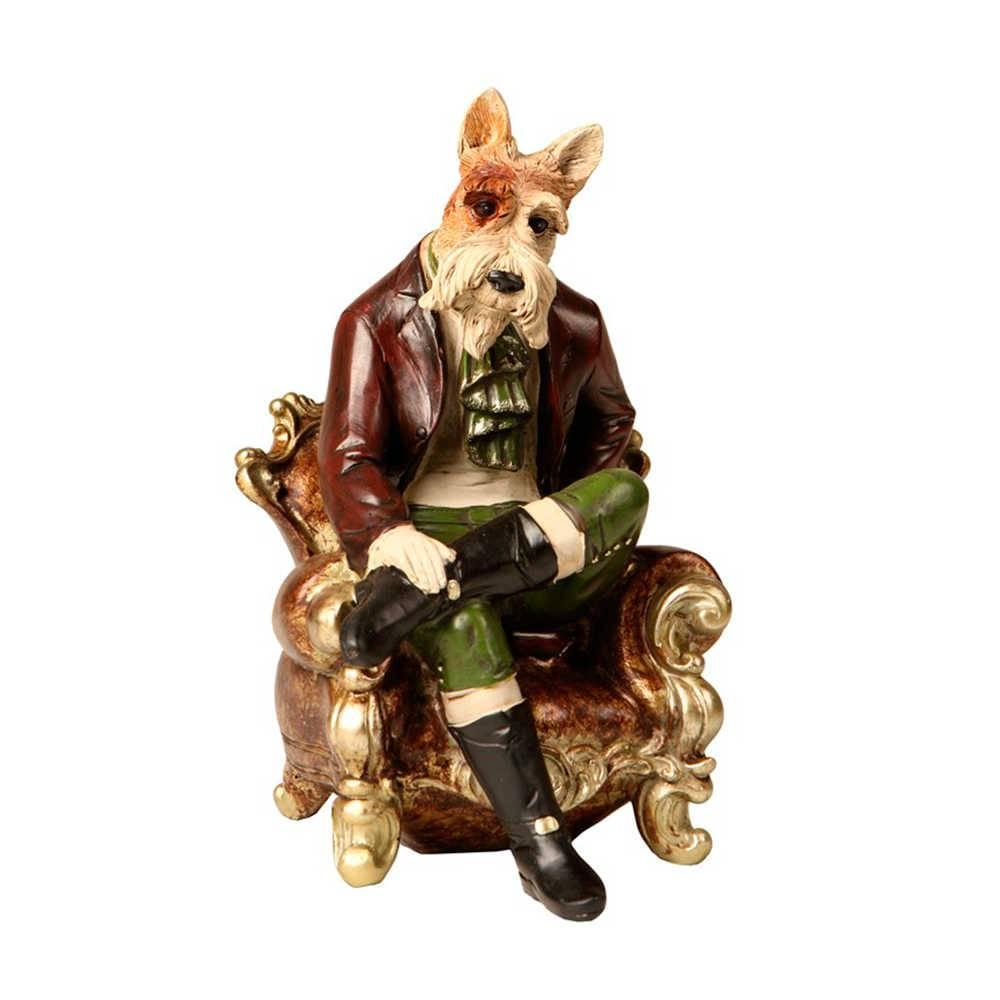 Escultura de Cachorro Sentado na Poltrona Em Resina - 23x15 cm