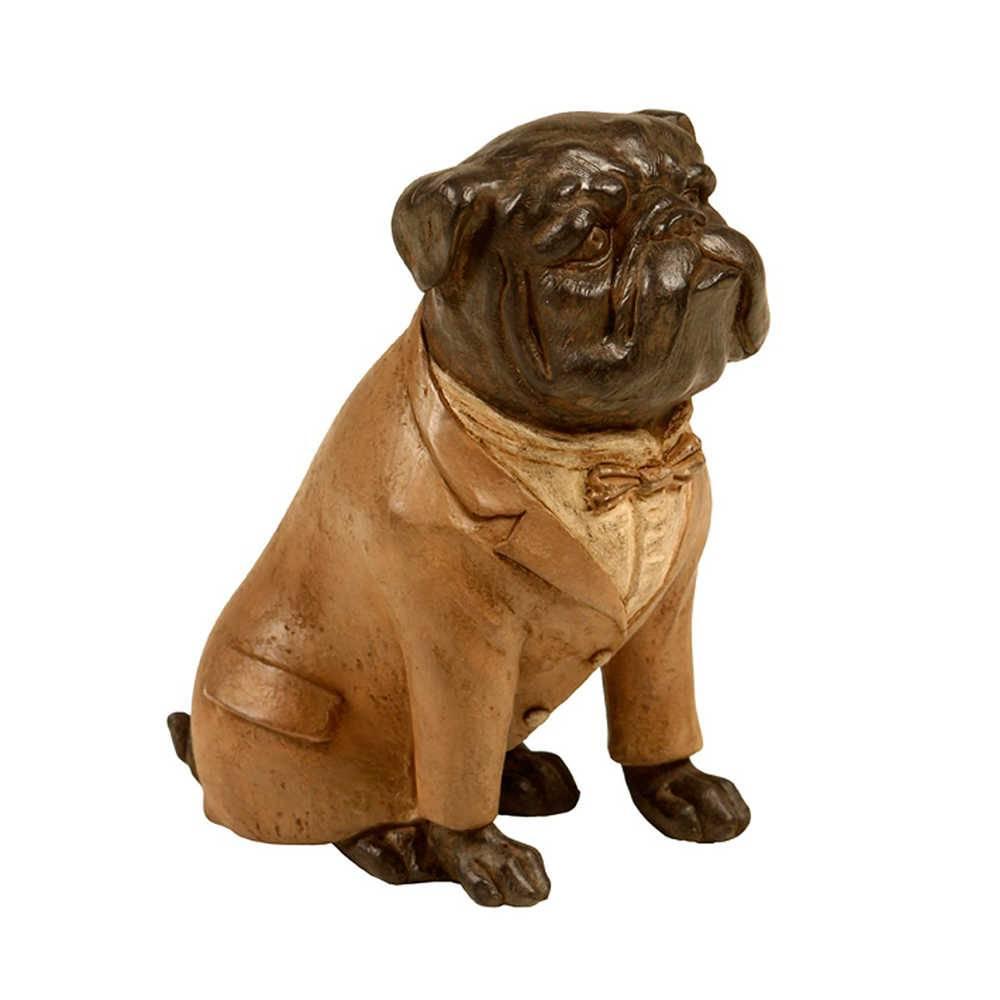 Escultura de Cachorro Sentado com Paletó Caramelo em Resina - 16x16 cm