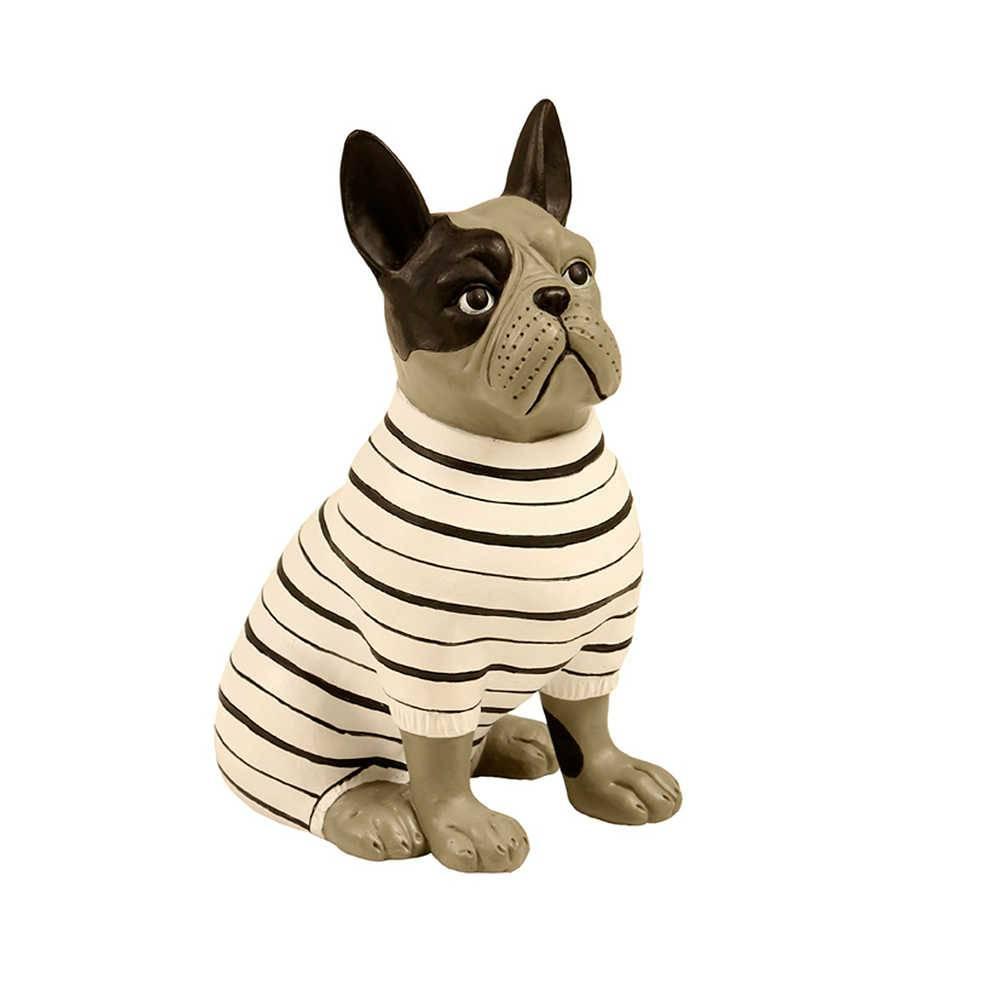 Escultura de Cachorro Sentado com Roupa Listrada em Resina - 20x13 cm