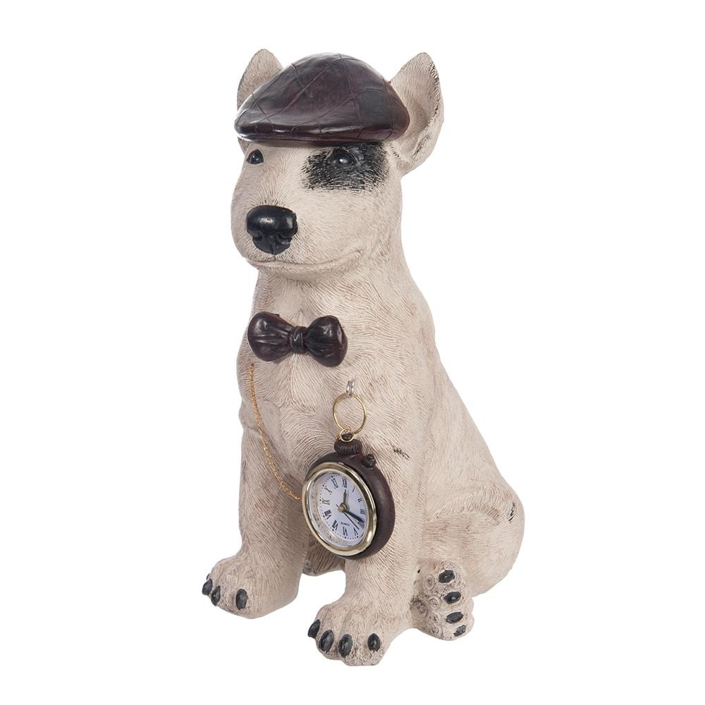 Escultura Cachorro Sherlock com Relógio Bege em Resina - 30x20 cm