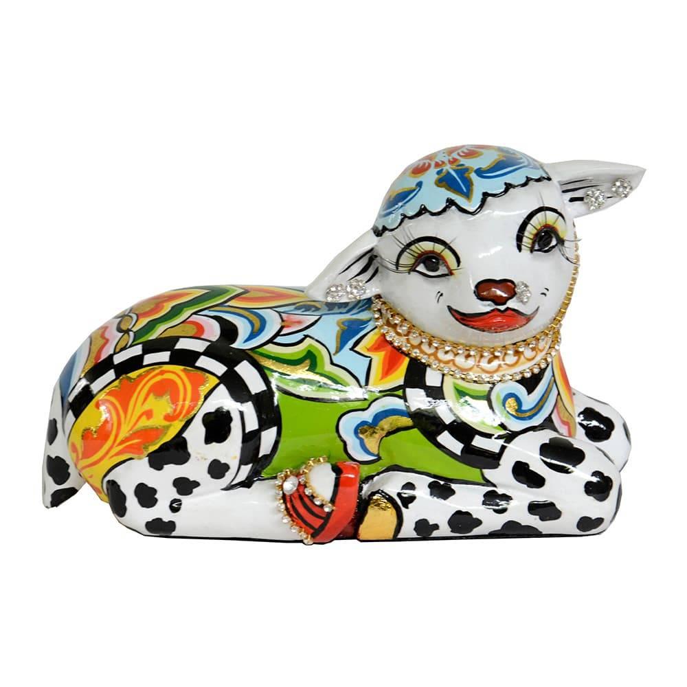Escultura Carneiro Pequeno Multicolorido em Cerâmica - 15x10 cm